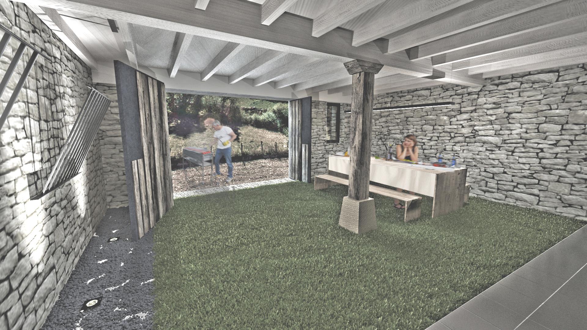 sietequince proyecto vivienda rural diseño pb patio interior