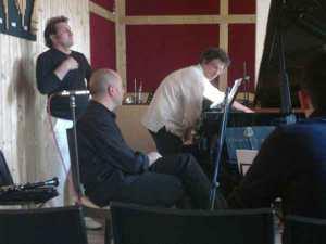 Répétition trio, piano, accordéon, clarinette, Malambo
