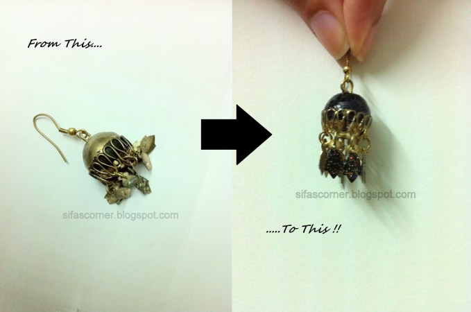 DIY black and gold colored earrings