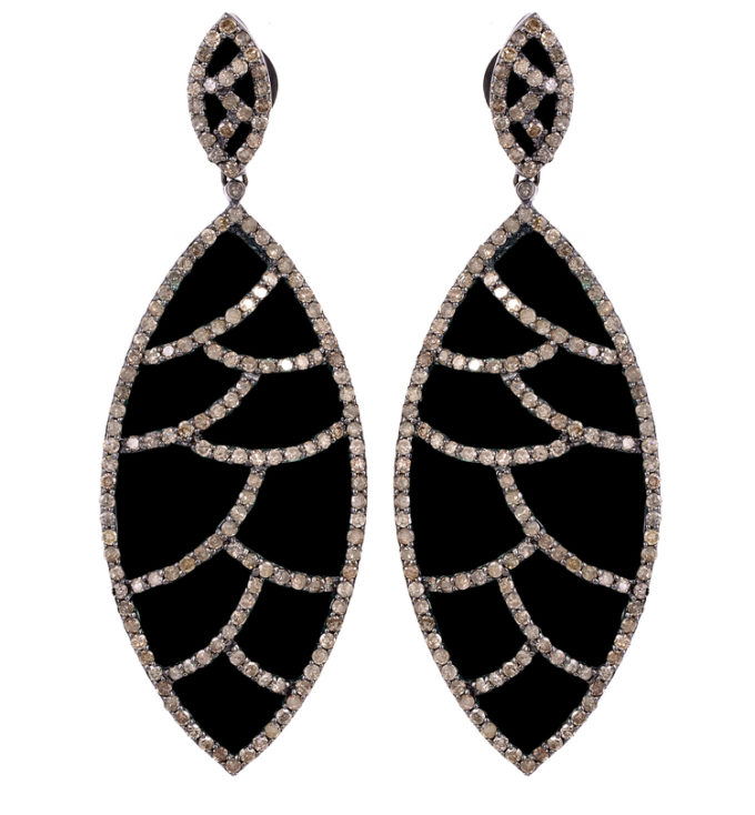 BORA BORA EARRING - BLACK ONYX & DIAMONDS