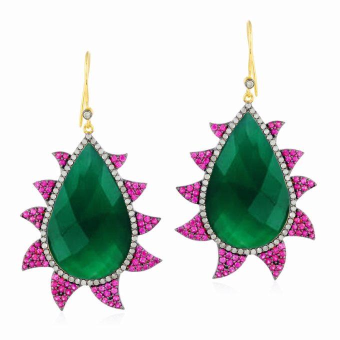 CLAW EARRINGS - GREEN ONYX, RUBIES & DIAMONDS