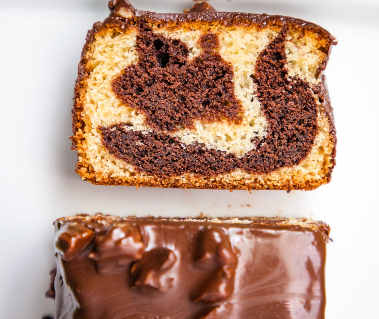 Moist Marble Cake with Walnuts