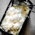 No Churn Coconut Ice Cream Recipe in black container