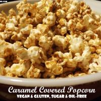 CARAMEL COVERED POPCORN- Vegan, Gluten-Free, Refined Sugar-Free and Oil-Free
