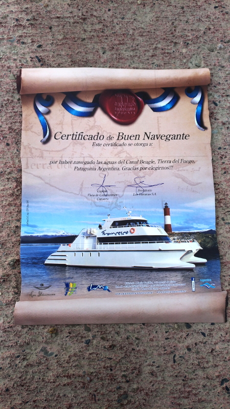 Siga na Viagem - Passeio pelo Canal de Beagle em Ushuaia - Certificado do passeio de Navegacao no Canal de Beagle.