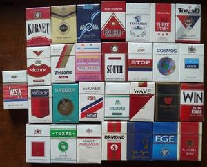 Sorter af cigaretter.