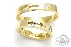 eheringe trauringe gold diamant soundwelle maßanfertigung schmuck siggnatur