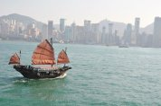 Dec10: The 'Clever Duck' (Duk Ling) going across the Victoria Harbour
