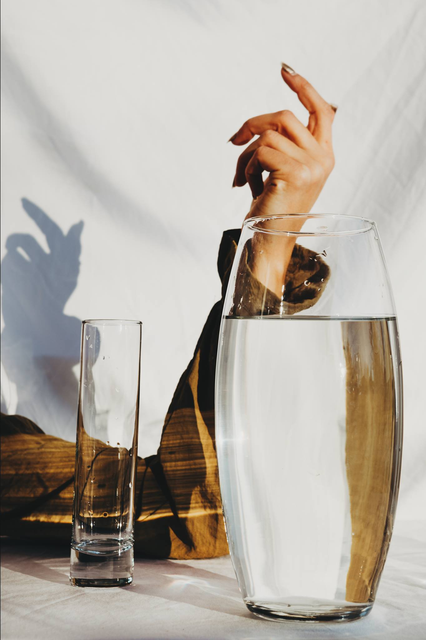 hand golden water abstract fine art photography