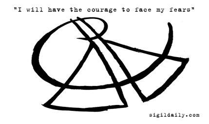 """I will have the courage to face my fears."" Brush and ink."
