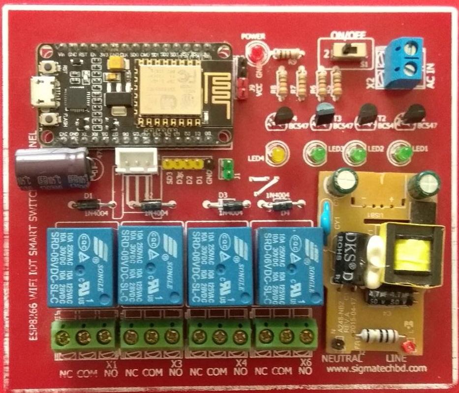 ESP8266 WiFi 4 Channel IoT Smart Switch