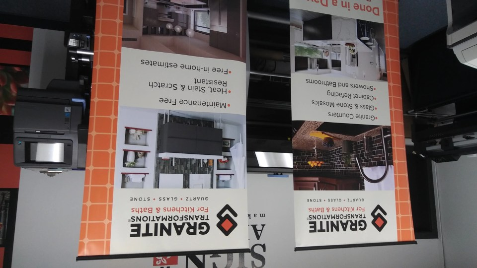 Pop up banner stands with Granite Transformations brand