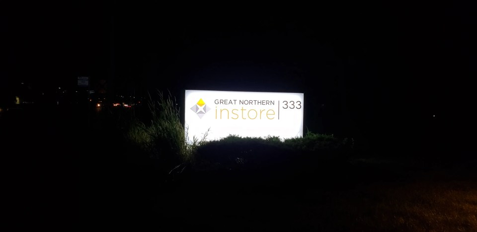 Great Northern Instore cabinet sign lit up.