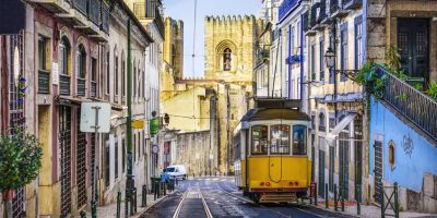 32739647 - lisbon, portugal tram.