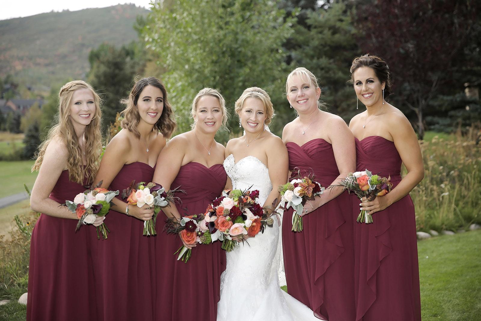Burgundy Bridal Party Wedding Ideas