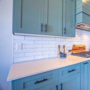 kitchen cabinet refaced with blue doors