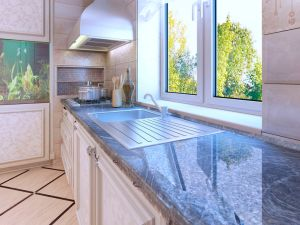 Modern kitchen design. Ecru colored cabinets.