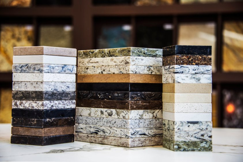 Natural stone sample colors on display