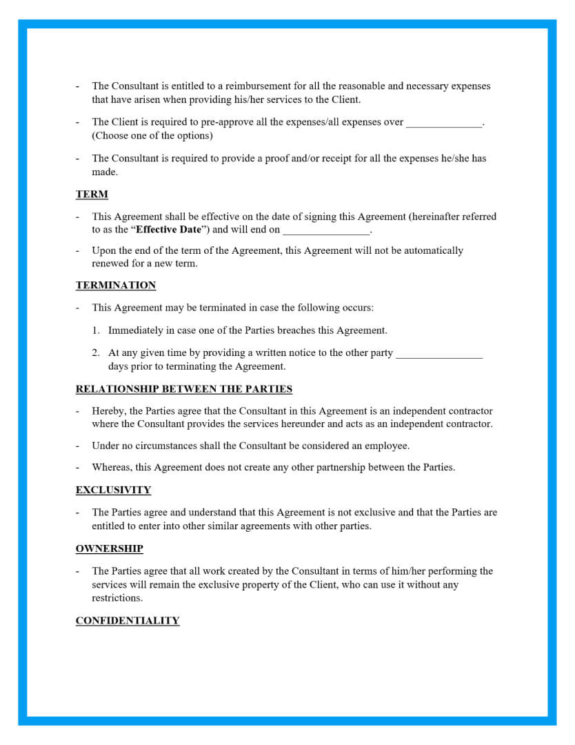 Our consulting agreement template takes the submission and instantly converts it into a pdf consulting contract, easy to download, print, or share with your clients. Free Consulting Agreement Template