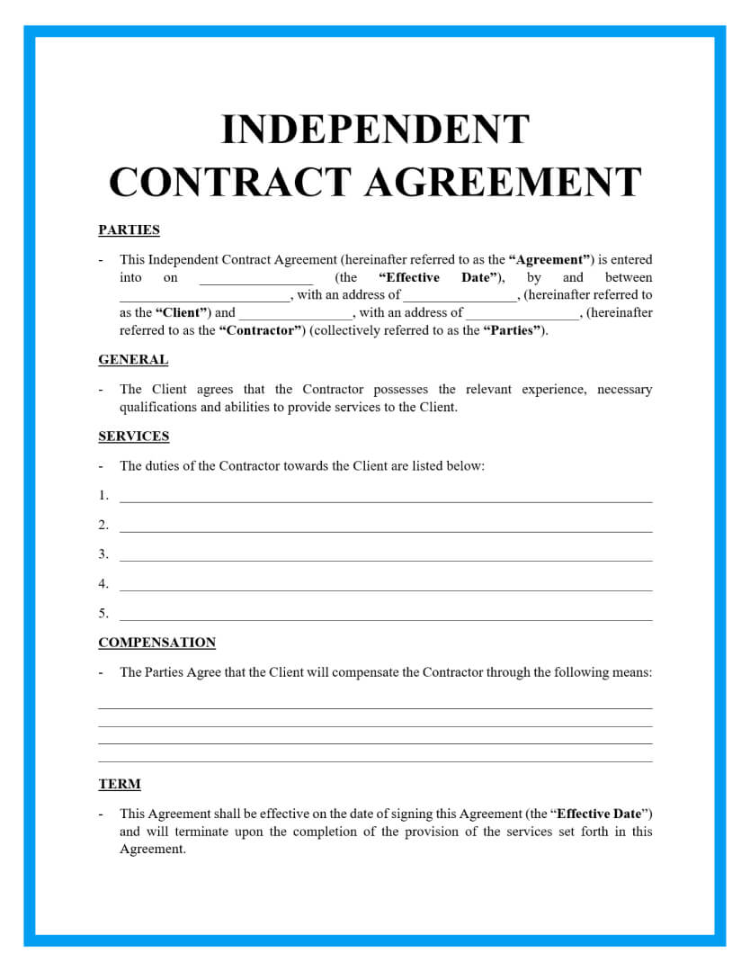 This simple independent contractor agreement pdf template is a quick contract that parties can use in order to start the business relationship between the … Free Independent Contractor Agreement For Download