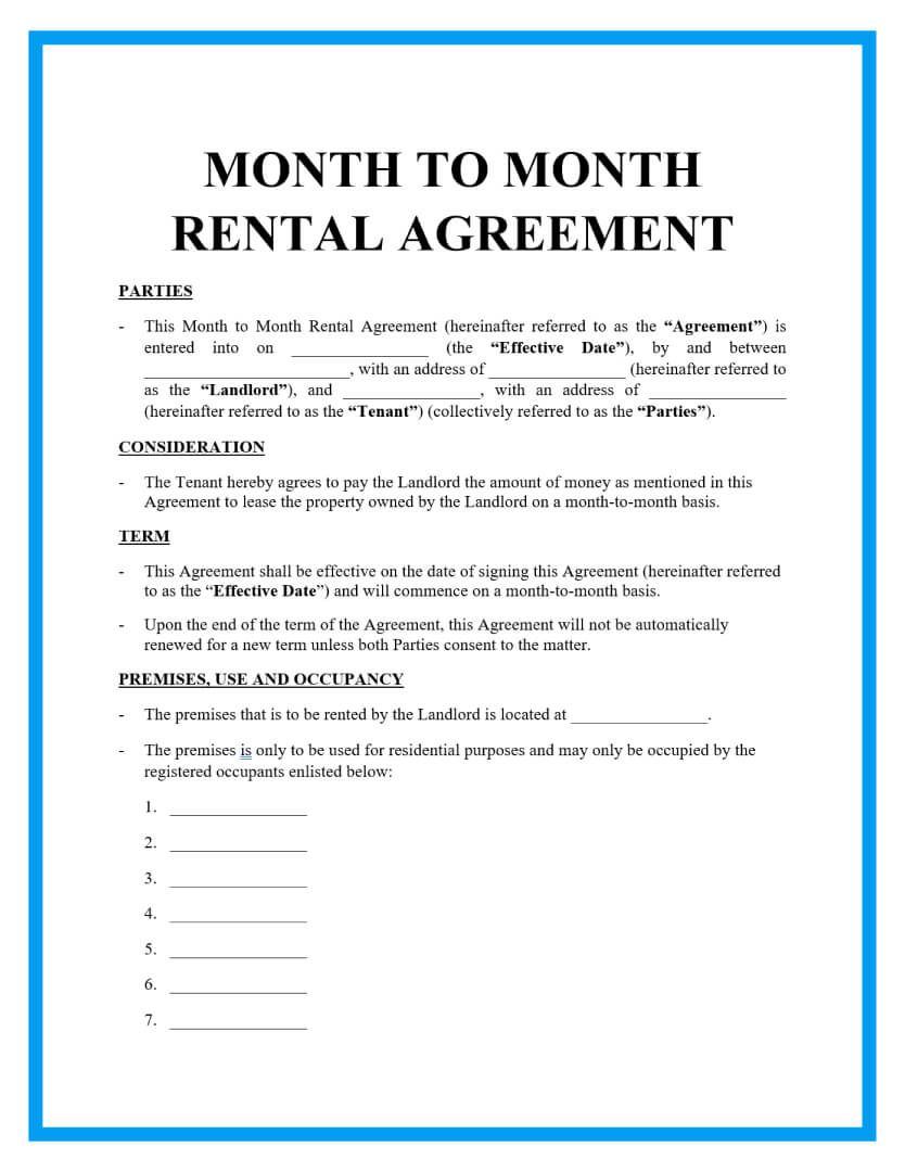 The contract must include specific details such as the monthly rent and the responsibilities of each party. Free Month To Month Rental Agreements Sample
