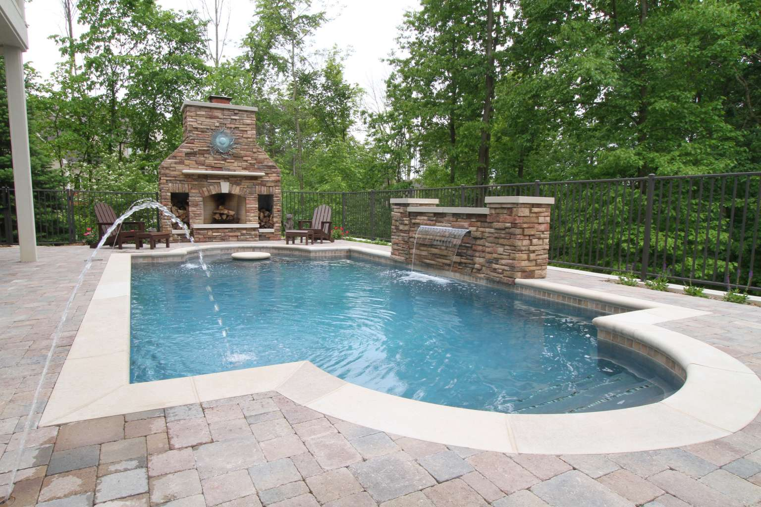 Grand Rapids Pool, Waterfeature, Fireplace, and Outdoor ... on Outdoor Kitchen By Pool id=29991