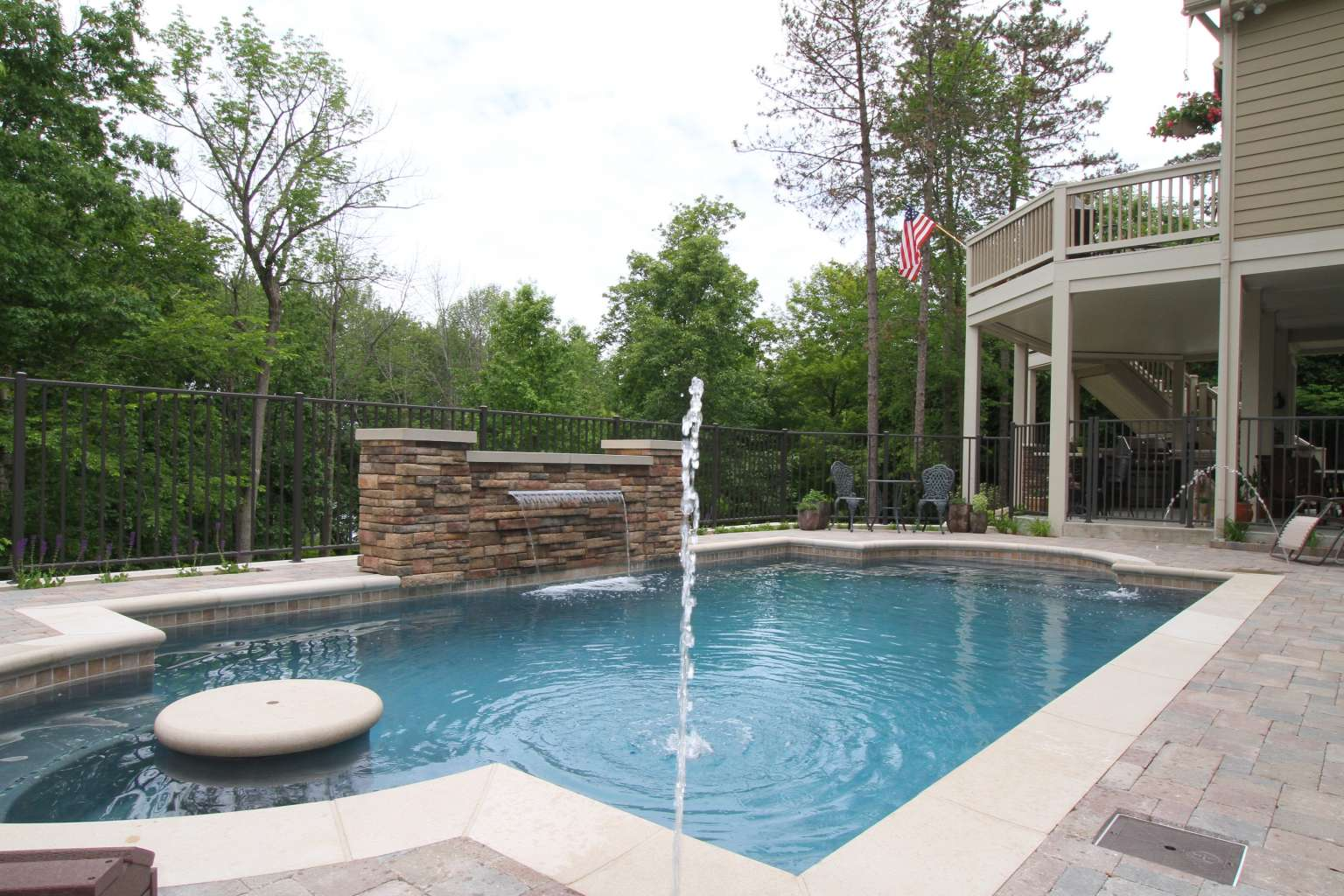Grand Rapids Pool Waterfeature Fireplace And Outdoor
