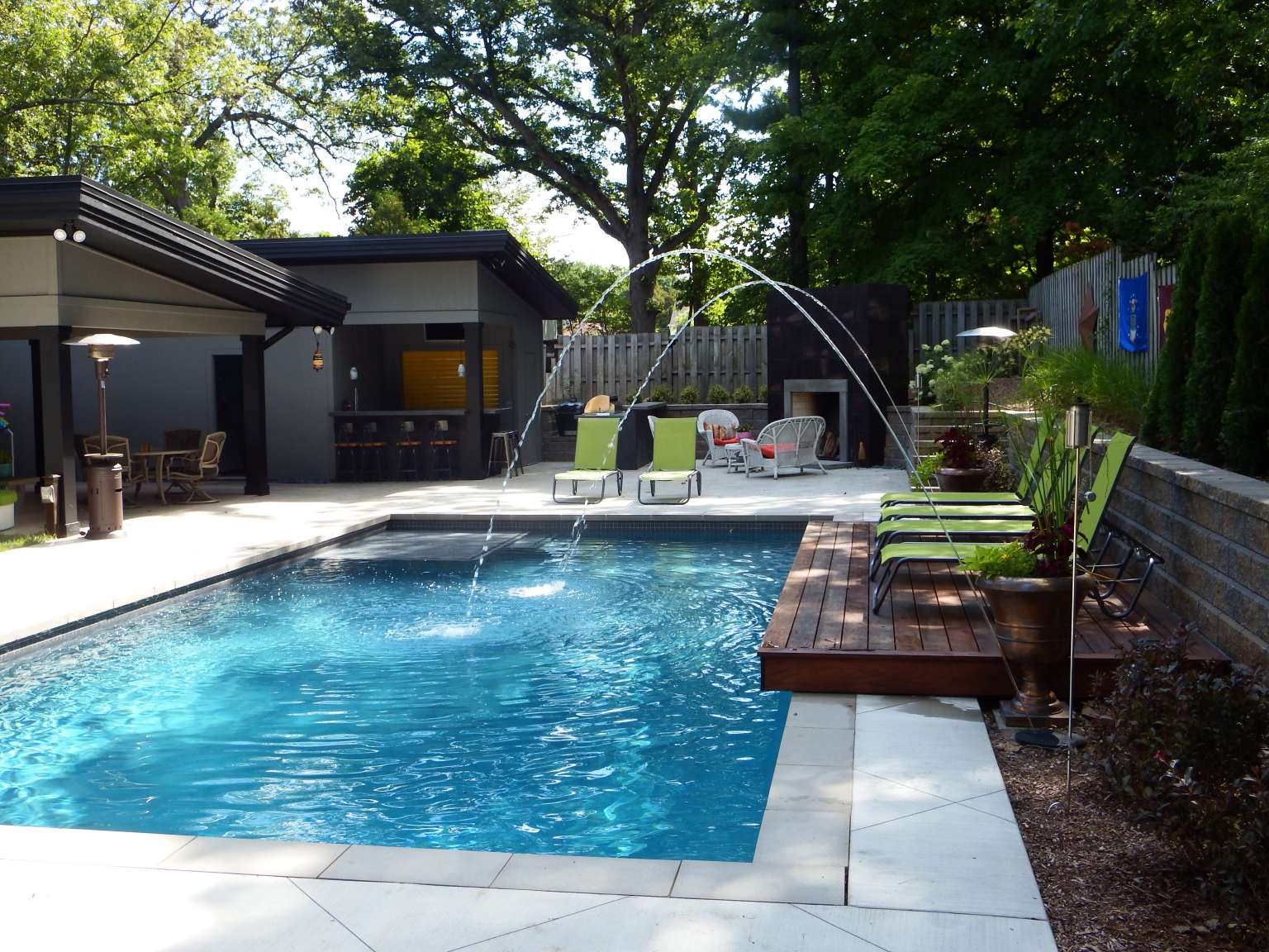 East Grand Rapids Modern Pool Outdoor Kitchen And
