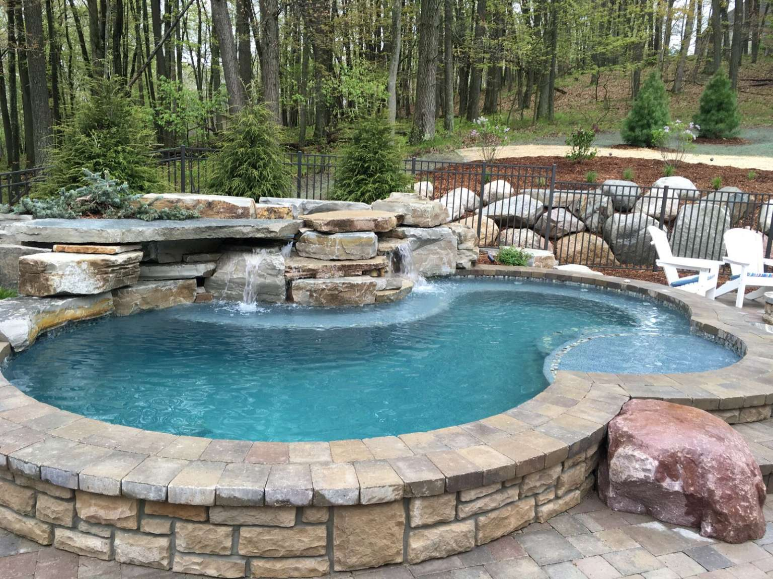 Grand Rapids Raised Free Form Pool Waterfall Outdoor