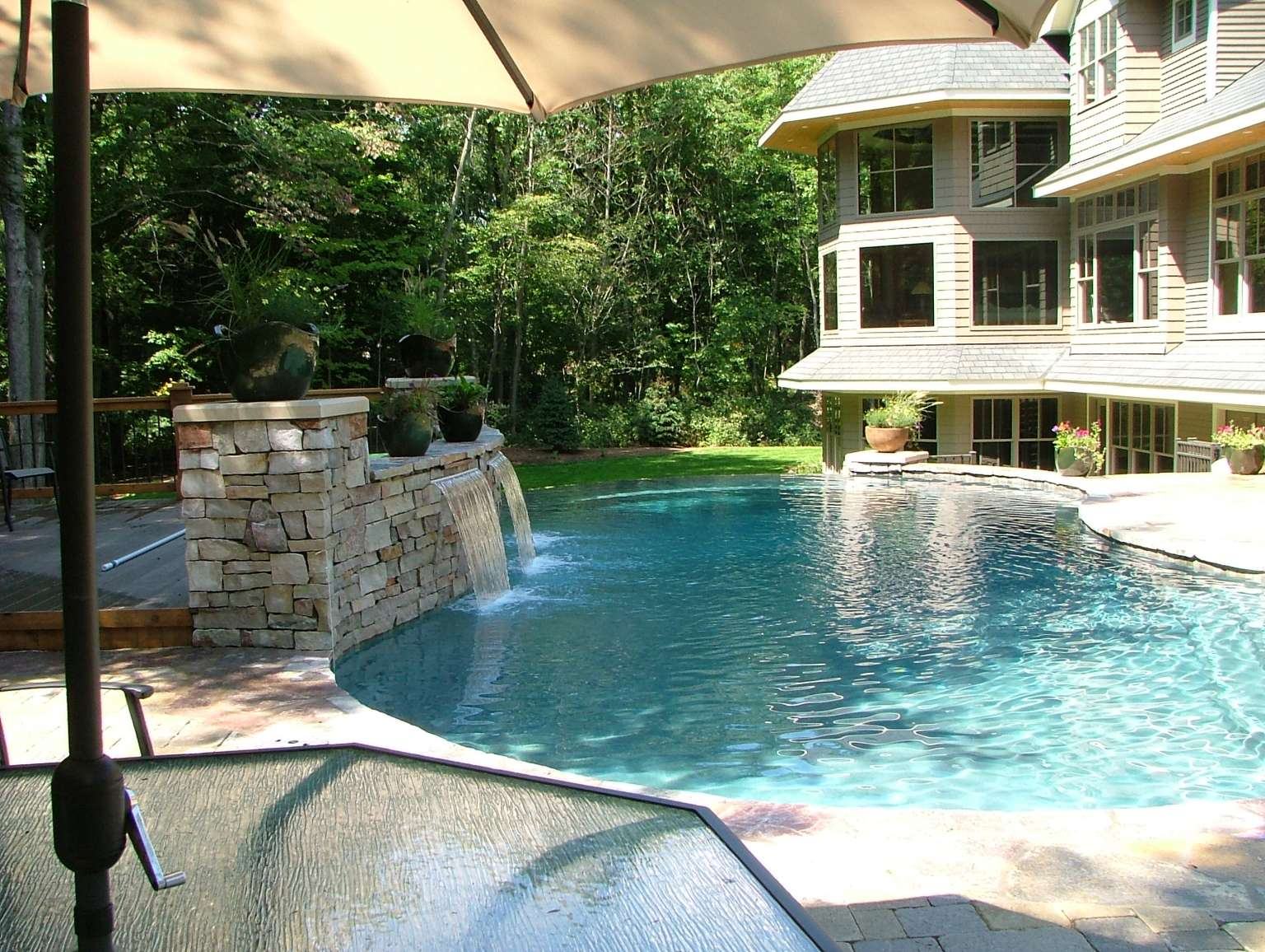 Holland Free Form Infinity Edge Pool, Waterfeature, Pergola, and ...