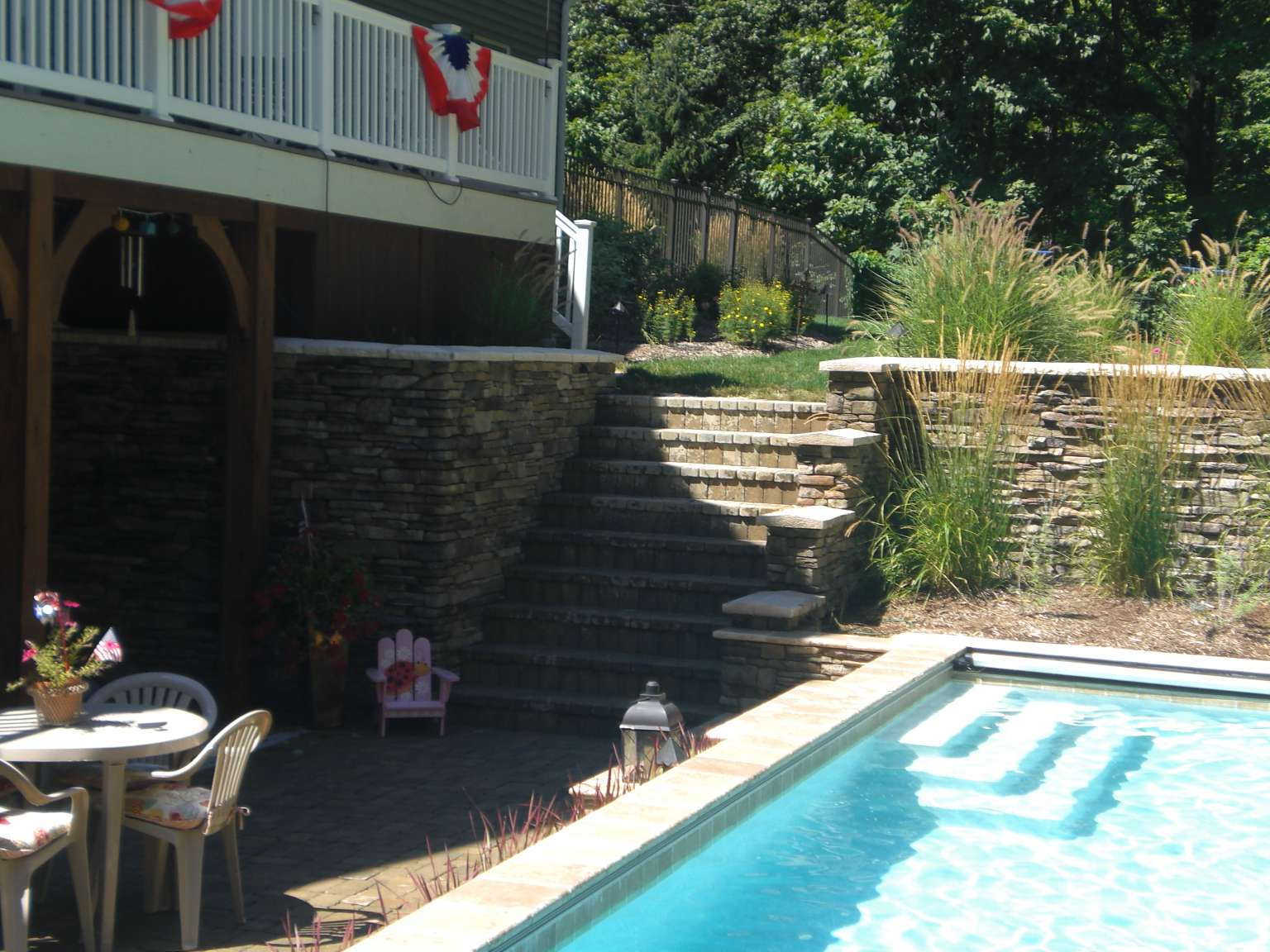 Grand Rapids Raised Pool With Waterfalls Fireplace