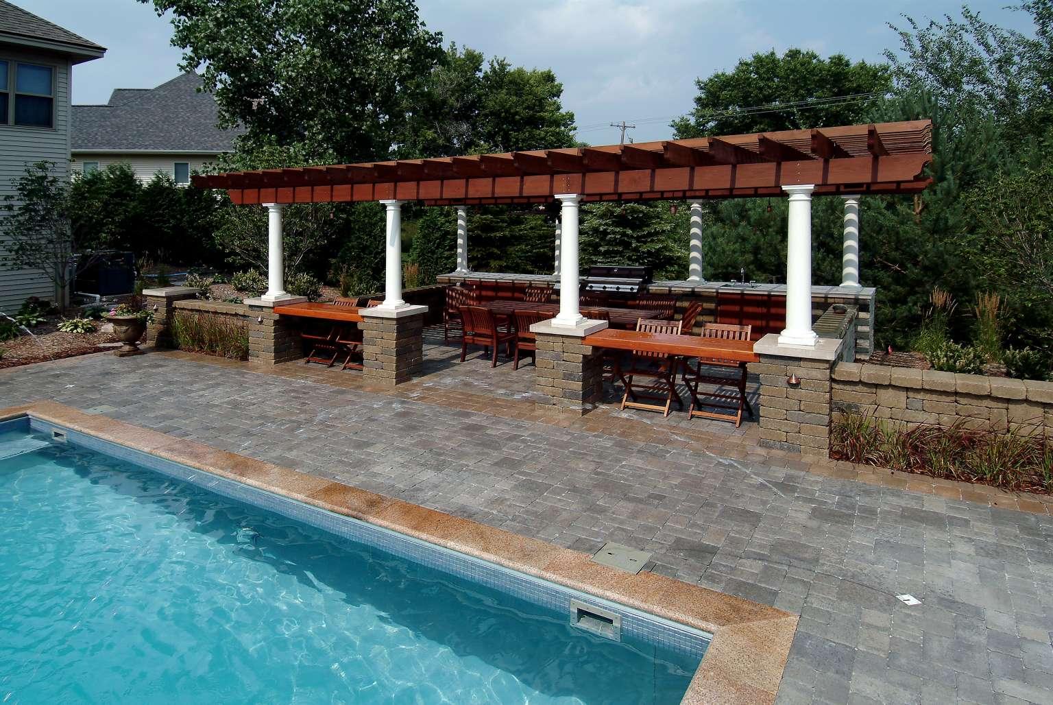 Cascade Pool With Custom Tile Mosaic Pergola Outdoor