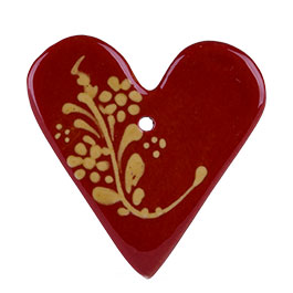 Photo d'un Coeur en céramique, poterie d'Alsace de Soufflenheim, proposé avec la COLMAR BOX Summum