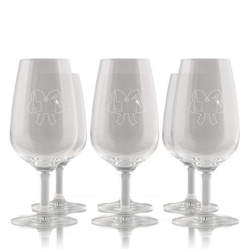 Photo de l'assortiment de six verres gravés aux motifs des Colmar Box