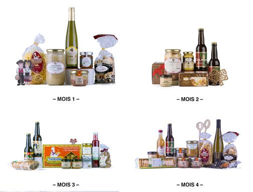 Photo des 4 coffrets de l'offre avec abonnement. 3 BOX Signatures dAlsace - COLMAR BOX