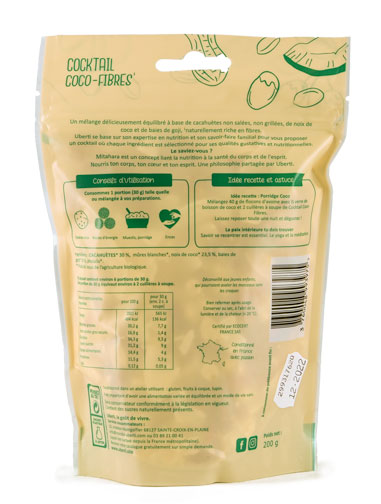 Photo de l'étiquette du Cocktail Healthy Coco fibres Bio