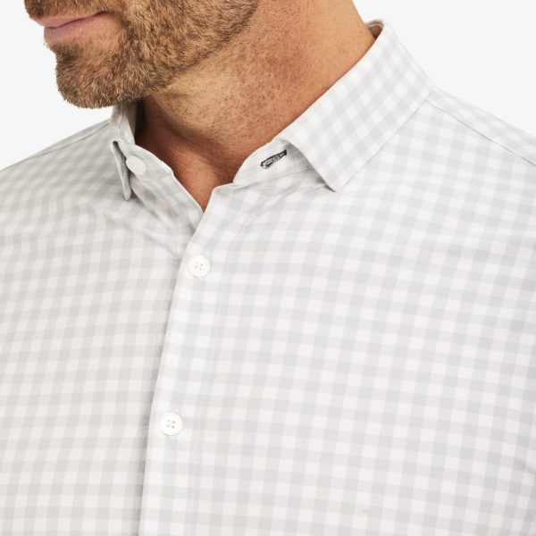 Long Sleeved Men's Shirt from Mizzen + Main Lightweight Leeward Grey White Check Long-sleeved Shirts at Signature Stag