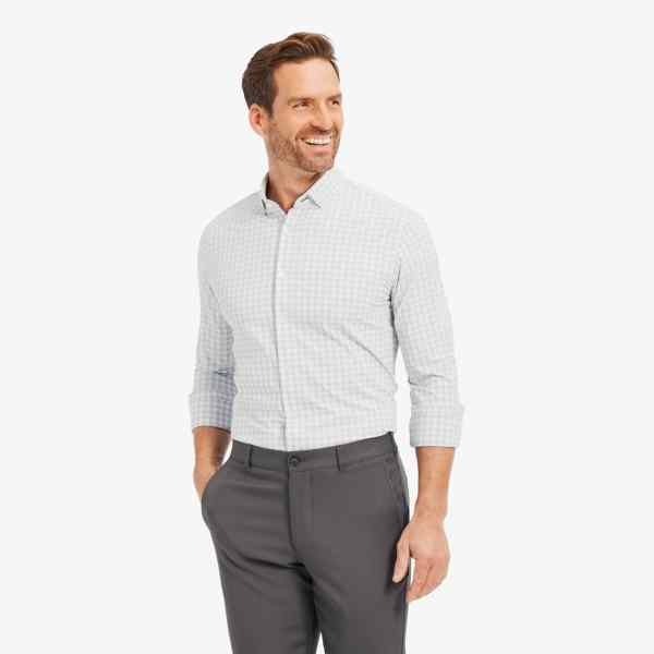 Shop Mizzen + Main Lightweight Leeward Grey White Check Long-sleeved Shirts at Signature Stag in Midland TX