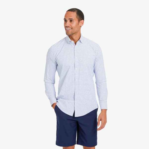Mizzen + Main Long Sleeved Leeward Blue Multi Check Shirt for Men in Lubbock Texas Menswear Clothing Stores