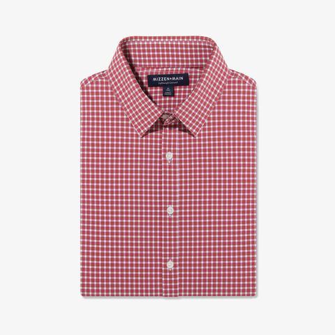 Mizzen + Main Long-sleeved Men's Shirt Lightweight Leeward Red Gingham in Lubbock