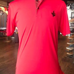 Texas Tech Red Black Stripe Trim Polo Shirt with Texas Hand