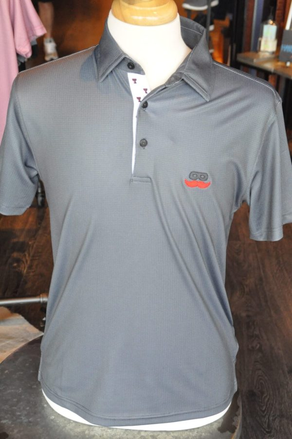 Men's Black Birdseye Double T Trim Polo Shirt with Mustache Logo at Signature Stag. Show your team spirit.Texas Tech Sports Gear and Apparel