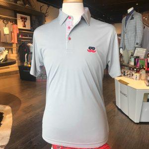 Grey Windowpane Trim Polo Shirt with Mustache Logo
