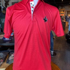 Red Microcheck Double T Trim Polo- Texas Hand