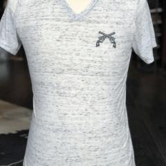 White Marble V-Neck Shirt- Cross Guns