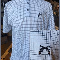 Black/Grey Windowpane Polo- Cross Guns