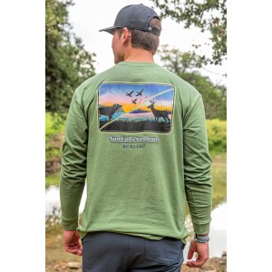 Burlebo- L/S Heather Olive Sun Up to Sun Down