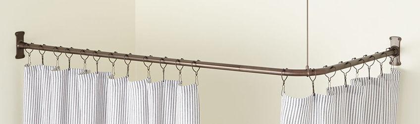 brass shower curtain rods hanging