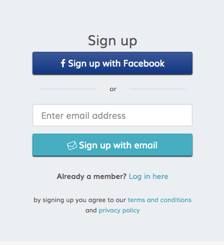sign up with facebook