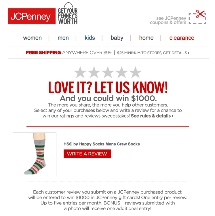 jc penny customer review email